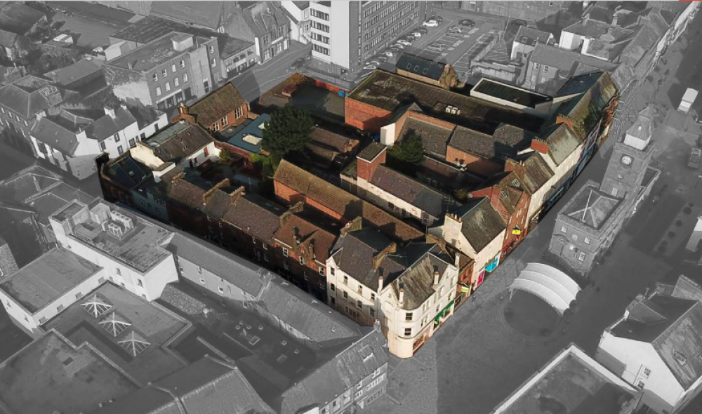 existing aerial view (image courtesy of Dumfries Midsteeple Quarter)