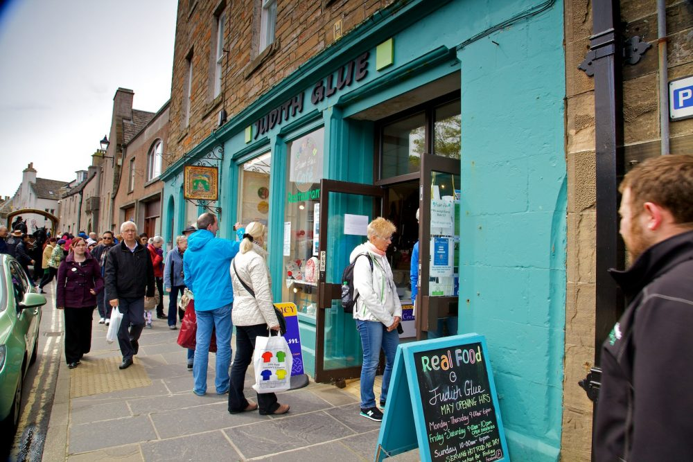 shops and visitors in kirkwall