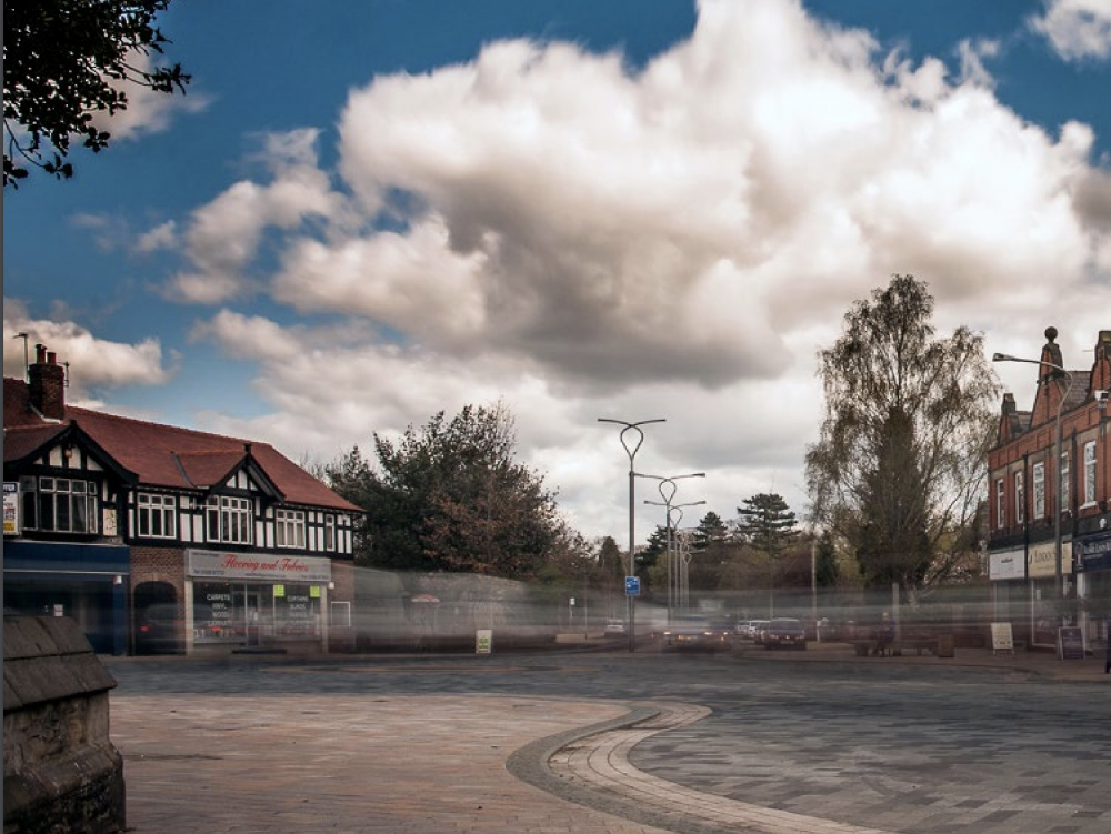 Poynton town centre after scheme implementation (image courtesy of Optimum Trajectory Photography)